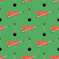 Red Wheelbarrow and Garden Shovel Isolated on Green Background. Seamless Pattern