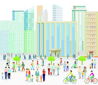 Big city with People on the sidewalk illustration