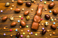 Chocolate Easter bunny with sweet chocolate eggs and colorful sweets on wooden background