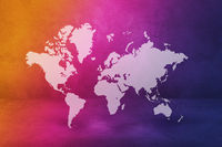 World map on rainbow wall background. 3D illustration