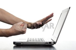 Angry Man Threatening Computer
