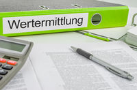 Folder with the label Valuation in german - Wertermittlung