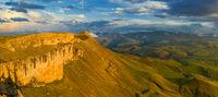 Plateau Bermamyt and hills at sunset