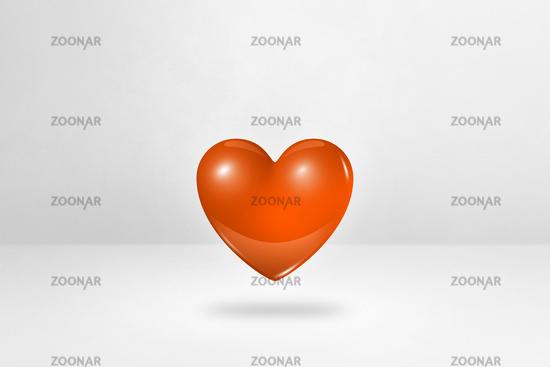 3D orange heart on a white studio background