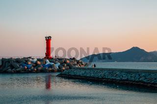 Sunset of Goraebul Beach in Yeongdeok, Korea