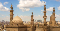 Minarets and domes of Sultan Hassan Mosque and Al Rifai Mosque, Cairo, Egypt