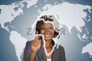 Afrikanische Geschäftsfrau / Afrikakarte