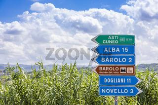 Barolo village road sign, Unesco site, Italy