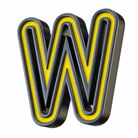 Yellow black outlined font Letter W 3D