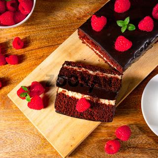 Chocolate cake with raspberries and coffee