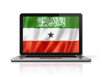 Somaliland flag on laptop screen isolated on white. 3D illustration