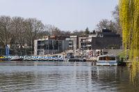 Harbour at the lake Aa, Muenster, Westphalia, Germany, Europe