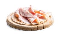 Sliced pork ham on cutting board