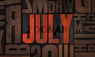 Retro letterpress wood type printing blocks - July