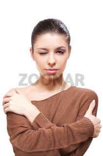 Brunette in sweater