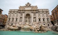 Fontana di Trevi, Baroque fountain and sculptures landmark. Rome Italy, Europe.