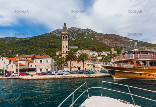 Village Perast on coast of Boka Kotor bay - Montenegro