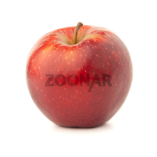 Red apple on a white background with a shadow.