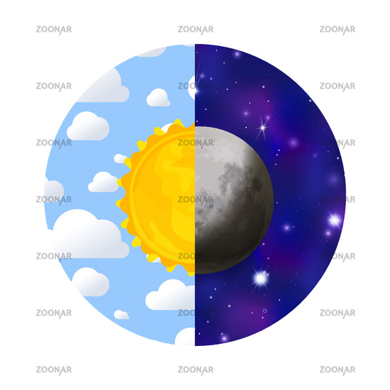 Day and night with sun, sky, clouds, moon and stars in circle on white