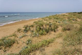 Sanddünen am Chalikouna Beach, Korfu, Griechenland