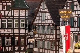 Die Altstadt von Schiltach im mittleren Schwarzwald  im Sueden von Deutschland.