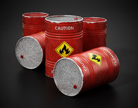 Red barrels with caution flammable warning text and fire symbol isolated on black background. 3D illustration