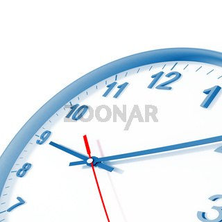analog clock with blue border and arrows on a white background