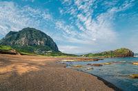 Sanbangsan Mountain and Yongmeori Beach, Jeju Olle Trail in Jeju Island, Korea