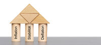 Drei Säulen der Geldwirtschaft mit Inflation