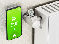 Smartphone and thermostatic radiator valve with LCD screen. 3D illustration