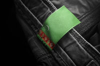 Tag on dark clothing in the form of the flag of the Turkmenistan