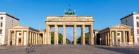 Panorama of the Brandenburg Gate in Berlin early in the morning with no people