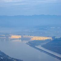 China three gorges dam in nightfall
