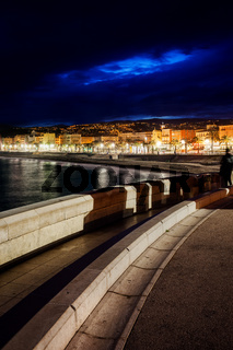 City of Nice at Night in France