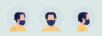 Wear fabric black mask semi flat color vector character avatar set