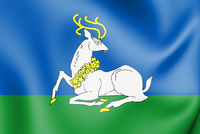 3D Flag of Odintsovo (Moscow oblast), Russia. 3D Illustration.