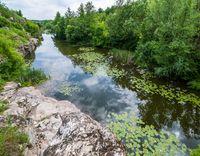 Buky Canyon summer landscape, Hirskyi Tikych river, Cherkasy Region, Ukraine.
