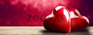 Happy Valentine's Day. Heart shaped symbol of love. 3d illustration