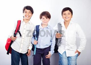 Three cheerful teenagers