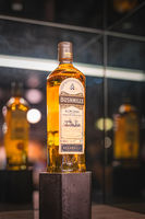 Steamship collection of Bushmills whiskey on display in distillery shop