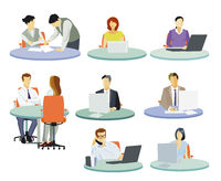 Workplaces in the office, people working at desk, illustration