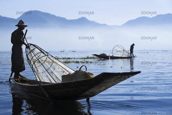 Fishermen at Inle Lake, Shan-State, Myanmar