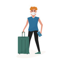 Man with ffp2 mask and health immune passport after covid-19 vaccine in the airport. Post pandemic travel. Flat cartoon style vector.