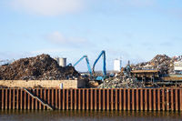 Scrap yard in the industrial port on the banks of the Elbe in Magdeburg in Germany