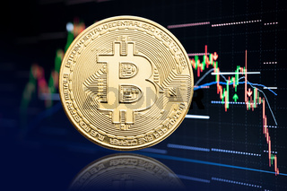 Bitcoin coin and stock chart background with price falling. Cryptocurrency