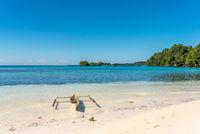 White sandy beach on Togian island Batudaka in Sulawesi