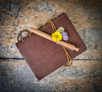 old diary with flowers