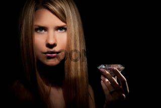 Beautiful woman with a diamond