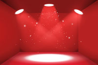 Empty space of the red luxury box with three light sources