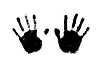 Human palm imprints simple black detailed silhouette on white
